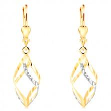 14K Gold Ohrringe - glänzende zweifarbige Spirale mit kleinen Einschnitten geschmückt