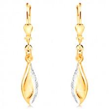 14K Gold Ohrringe - glänzendes Blatt mit Einschnitten und Weißgold geschmückt