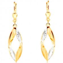 Hängende 585 Gold Ohrringe - gewellter Korn-Umriss mit Einschnitten und Weißgold