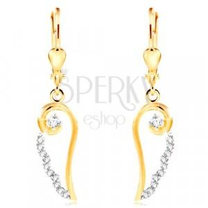 14K Gold Ohrringe - Kontur eines Engelsflügels mit runden klaren Zirkonen