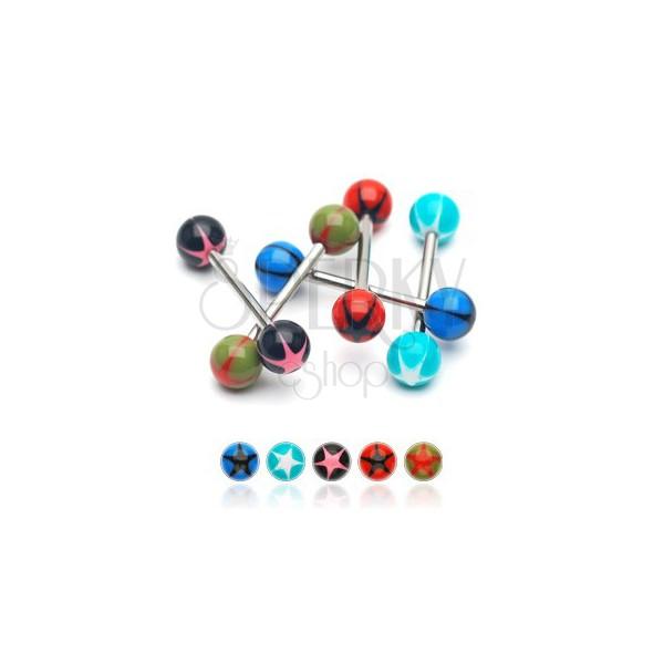 Zungenpiercing - UV Kugel mit Stern