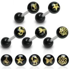 Zungenpiercing - schwarze Kugel, Bild
