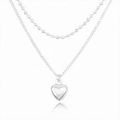 925 Silber Halskette, Doppelkette, gewölbtes Herz und kleine Kugeln