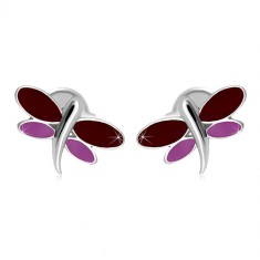 Ohrringe aus 14K Weißgold - Libelle mit bordeauxroter und lila Glasur auf den Flügeln