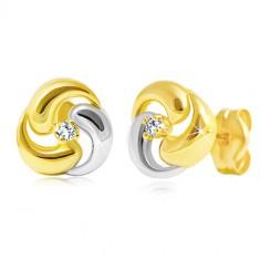 Brillant Ohrringe aus 14K Gold - zweifarbiges Kleeblatt mit klarem Diamanten