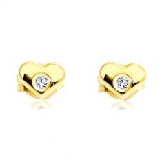 Ohrringe aus 14K Gelbgold - symmetrisches Herz mit klarem Zirkon