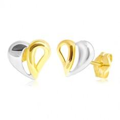 14K Gold Ohrstecker - zweifarbiges Herz mit Ausschnitten