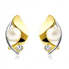 Ohrringe aus 14K Gold, zweifarbiges Korn, weiße Perle und klarer Zirkon