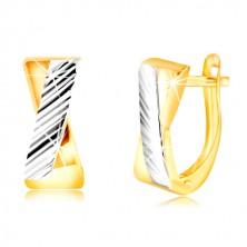 Ohrringe aus 14K Gold - zweifarbige gekreuzte Streifen, schräge Einschnitte
