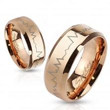 Kupferfarbener Stahl Ring - Kardiogramm, abgeschrägte Ränder, 8 mm