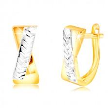 Ohrringe aus 14K Gold - zweifarbige gekreuzte Streifen, glitzernde Einschnitte