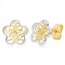 Ohrringe aus 585 Gold - Blume in zwei Farben mit Ornament und einem klaren Zirkon