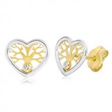 Ohrringe aus 585 Gold - Herz in zwei Farben mit Baum des Lebens und Zirkon