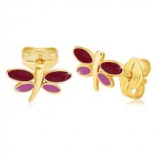 Ohrringe aus 14K Gelbgold - Libelle mit bordeauxroter und lila Glasur auf den Flügeln