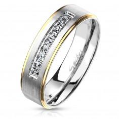 Zweifarbiger Stahl Ring, silberner und goldener Farbton, klare Zirkone, 6 mm