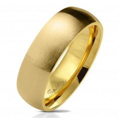 Ring aus Chirurgenstahl in goldener Farbe, matte gewölbte Oberfläche, 6 mm