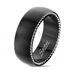 Edelstahl Ring mit spiralförmigem Motiv an den Seiten, matt, schwarz, 8 mm