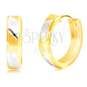 Ohrringe aus 14K Gold - matte zweifarbige Streifen mit glänzenden Linien