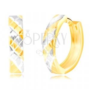 Ovale Ohrringe aus kombiniertem 585 Gold - zweifarbiger Streifen und Gitter