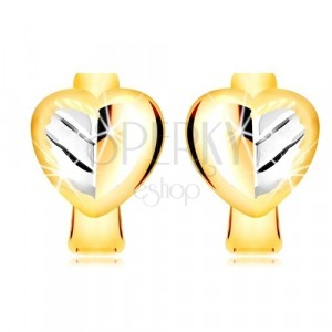 Ohrringe aus kombiniertem 585 Gold - zweifarbiges Voll Herz mit einem Blatt