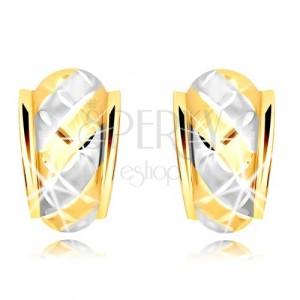 585 Gold Ohrringe – ein asymmetrischer matter Bogen mit zweifarbigen Streifen und Gitter