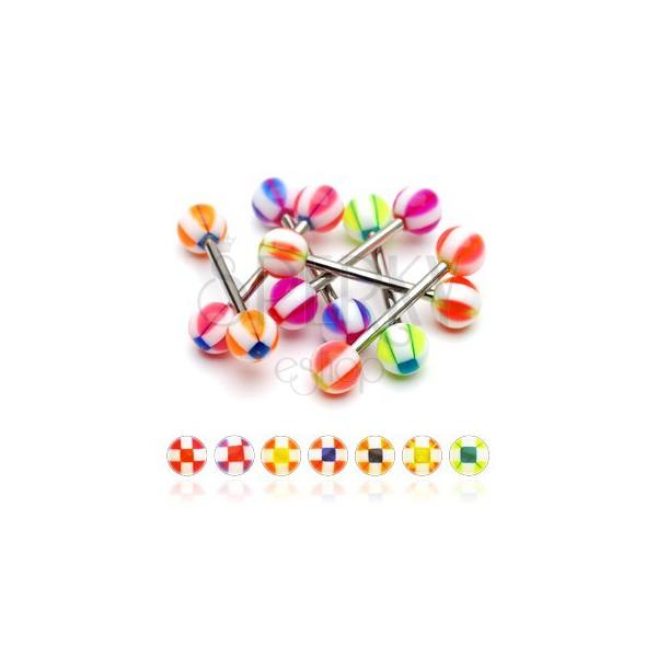 Zungenpiercing - Kugel mit Vierecken