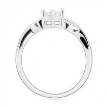 925 Silber Verlobungsring - runder Zirkon, gewellte glitzernde Linien, Zirkone