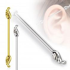 Edelstahl Ohr Piercing - längere Hantel endet in Flügeln, 1,6 mm