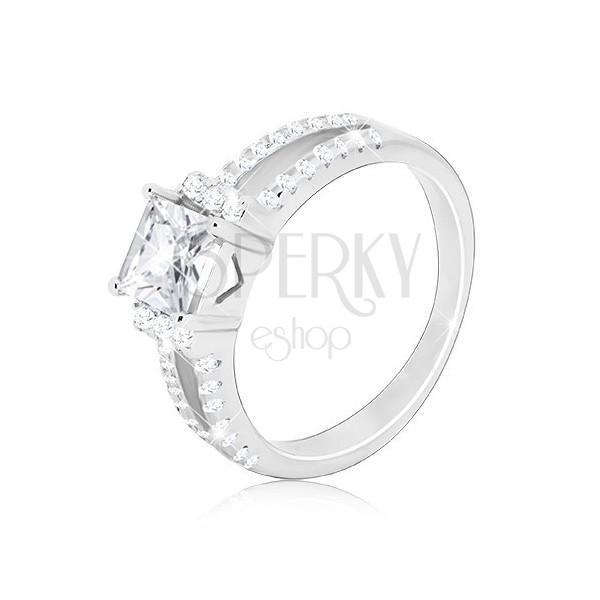 925 Silber Ring - glitzernder quadratischer Zirkon, geteilte Zirkon-Linie