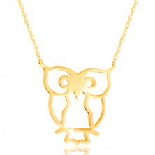 Halskette aus 585 Gelbgold - Eule Symbol der Weisheit, glitzernde dünne Kette