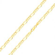 585 Gold Armband – drei ovale Glieder, längliches Glied mit verlängerten Kanten, 180 mm