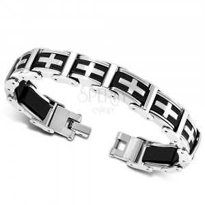 Zweifarbiges Armband aus Stahl und Gummi - mehrteilige Glieder, lateinisches Kreuz