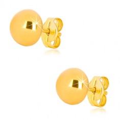 375 Gelbgold Ohrringe - einfache Halbkugel, glänzende Oberfläche, 7 mm