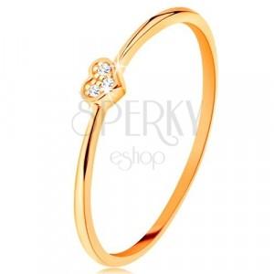 Ring aus 9K Gelbgold - Herz mit runden klaren Zirkoniasteinen geschmückt