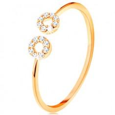 375 Gelbgoldring mit schmaler geteilter Ringschiene, kleine Zirkoniakreise