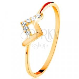 Glänzender Ring aus 9K Gelbgold - gebrochener Streifen mit glatter und Zirkoniaoberfläche