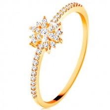 Ring aus 9K Gelbgold - glitzernde Blume aus klaren Zirkonen, funkelnde Schiene
