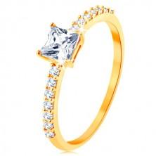 Ring aus 9K Gelbgold - gehobenes Zirkoniaquadrat, klare Zirkonialinien