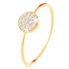 Ring aus 375 Gold - schmale glänzende Arme, Scheibe mit klaren Zirkonen