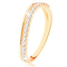 Ring aus 9K Gelbgold - glatte und klare Zirkoniawelle