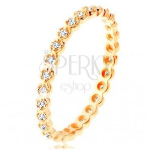375 Gelbgoldring - runde klare Zirkone im ganzen Umfang, gewellter Rand