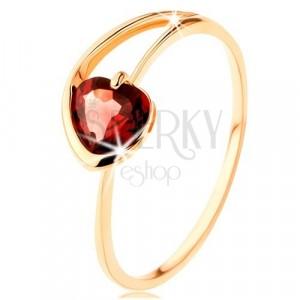 Goldener 9K Ring - rotes Granatherz, asymmetrische Arme