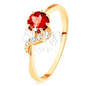 375 Goldring - runder roter Granat, glänzende Welle