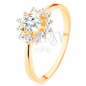 Ring aus 9K Gelbgold - klare Zirkoniasonne, schmale glänzende Arme