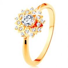 375 Goldringe - glitzernde Sonne mit runden klaren Zirkonen