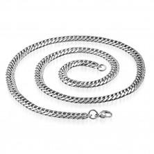 Glänzende Kette aus Edelstahl - längliche Glieder spiralförmig gedreht, 7,5 mm