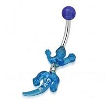 Bauchnabelpiercing, Edelstahl und Acryl - Eidechse in blauer Farbe, klare Zirkone