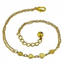 Kette aus Chirurgenstahl in goldener Farbe - Linie aus Herzen, Glöckchen