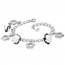 Armband in silberner Farbe - glänzende Kette, Blumenkonturen, Blumen mit Wellen