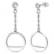 Stahl Ohrringe - glitzernder Zirkon in Fassung, Kreis mit Ausschnitt an einer Kette